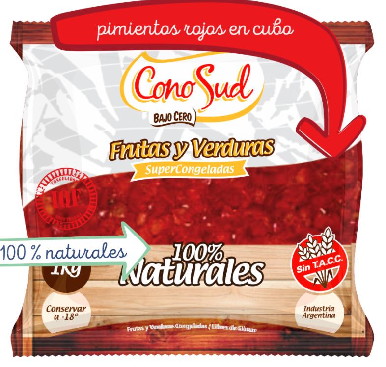 Pimiento rojo en cubos IQF por 1 kg